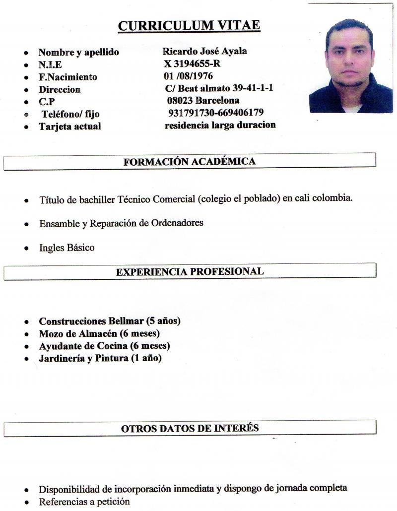 Bonito Formato De Curriculum Vitae Cocinero Asistente Ideas ...